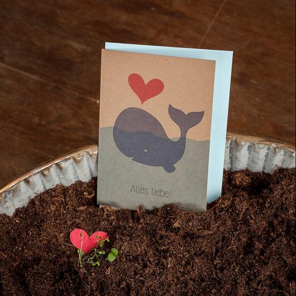 Grußkarte Alles Liebe! mit Wal 1