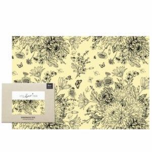 Nachhaltige Geschenke - Bio-Bienewachstuch XXL Brot - Blumenwiese schwarz