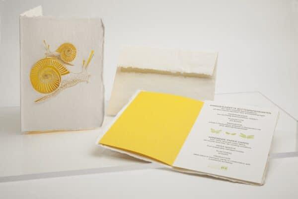 kreative Büttenkarte-handgeschöpft-Schnecken-e-typisch