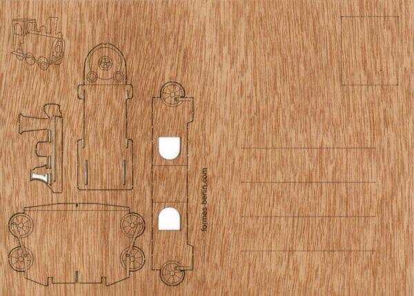 Lokomotive - Holzpostkarte zum Basteln 1