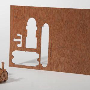 Lokomotive - Holzpostkarte