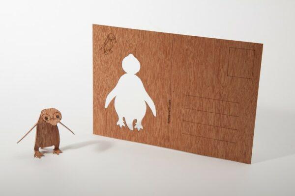 Pinguin - Holzpostkarte zum Basteln 1