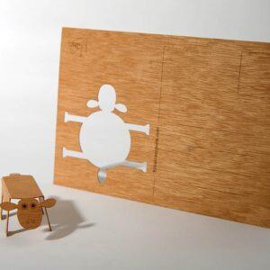 Schaf - Holzpostkarte