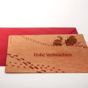 Rentier & Nikolaus, Frohe Weihnachten - Holzgrußkarte mit PopUp-Motiv