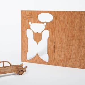 Holpostkarte zum Basteln - Auto -Ente