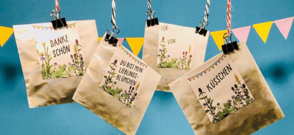 Saatgutkonfetti mit verschidenen Etiketten