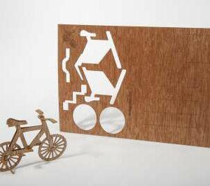 Holzpostkarte zum Basteln - Fahrrad - e-typisch