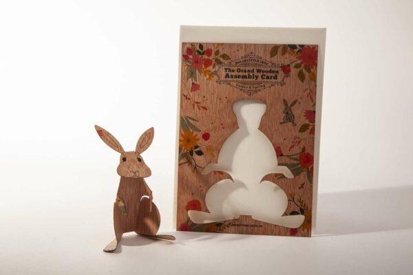 Bedruckte Holzbastelkarte -Osterhase - mit Umschlag und Anleitung