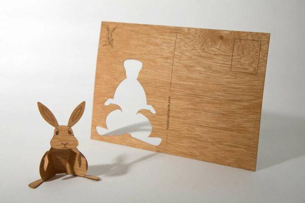 e-typisch-Holzpostkarte zum Basteln - Hase
