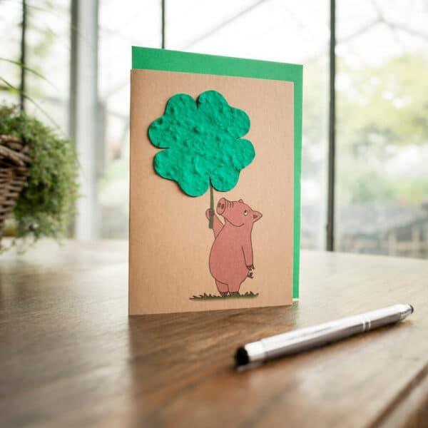 Grußkarte Viel Glück - Schwein 1