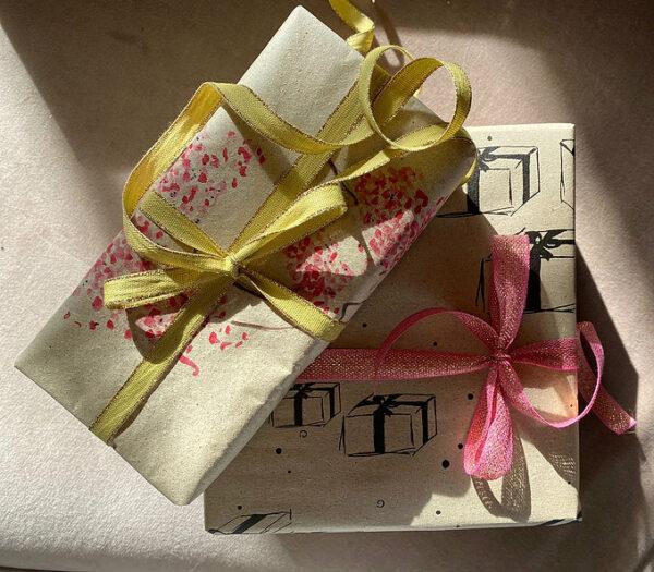 Geschenkpapierbogen aus Gras - Design Kirschblüten 100x70cm 2