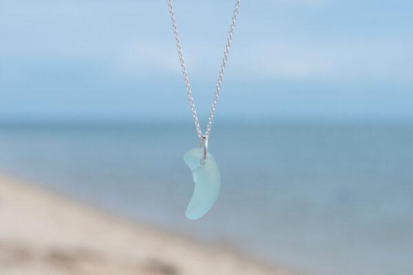 Kette silber - Seeglas hellblau - e-typisch